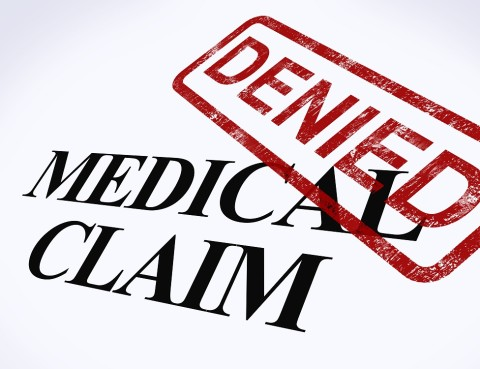 Medical Claim Denied Stamp Shows Unsuccessful Medical Reimbursement